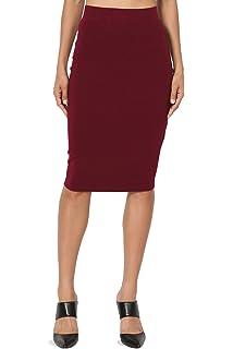 fbc9061e06e0 TheMogan Basic Comfort Stretch Cotton Elastic High Waist Knee Midi Pencil  Skirt