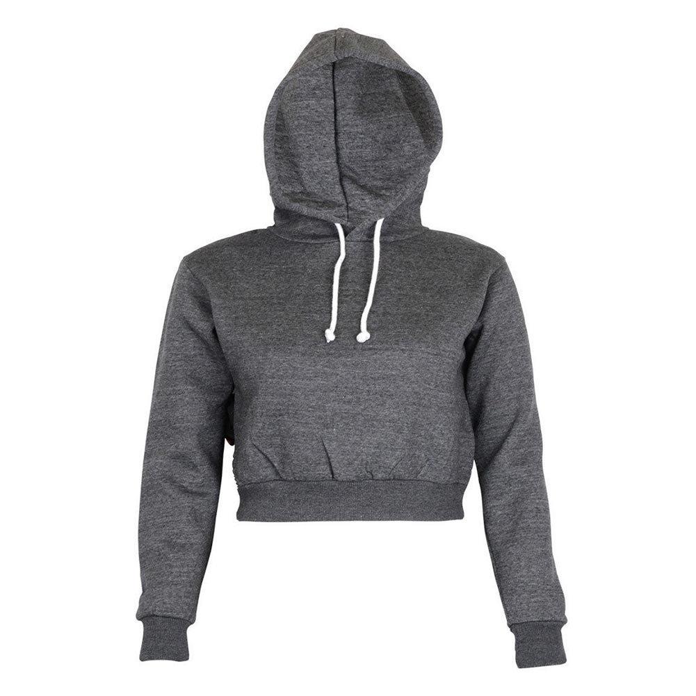 FUNOC Women's Long Sleeve Hoodie Fleece Crop Top Sweatshirt Pullover