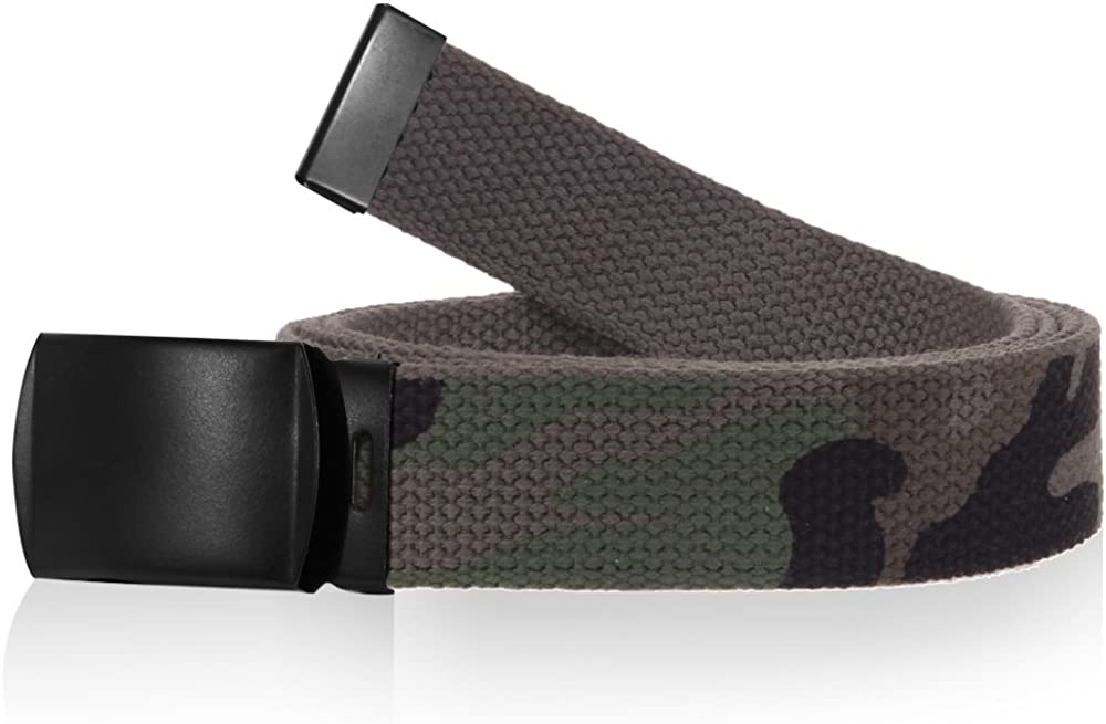 Many Colors /& Styles Canvas Military Style Belt 56 Cut To Fit with Removable Roller Buckle