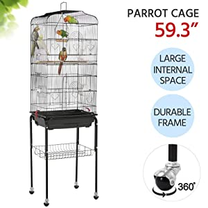 Yaheetech 59.3-inch Standing Medium Small Parrot Parakeet Bird Cages with Rolling Stand for Lovebirds Finches Canaries Parakeets Cockatiels Budgie Parrotlet Conures Pet Flight Bird Cage Birdcage
