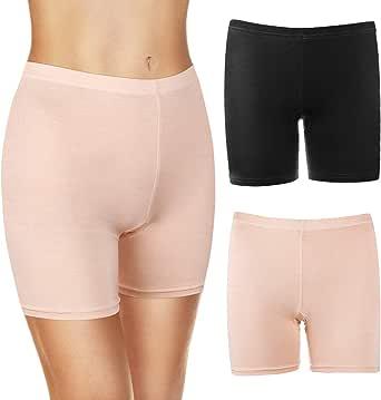 MELLIEX 2 Piezas Mujer Short Leggings Boxer Algodon Pantalones de Seguridad sin Costuras Soft Bragas de Cortos