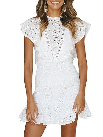 cf31f407047b Terryfy Damen Sommer Kleid Elegant Rückenausschnitt Volant Spitze Knielang  Kurzarm Mini Dress Strandkleid Weiß