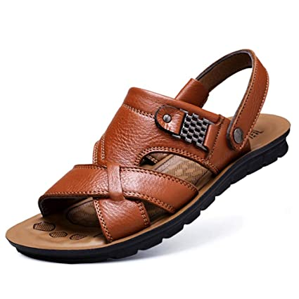 Mens Sports Leather Sandals Outdoor Flat Comfy Breathable Summer Slippers Casual