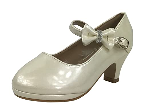 ccfde227b703 Link Little Girl s Bow Mary Jane Pumps Dress Shoes Ivory 9 US Toddler