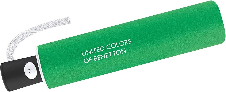 Paraguas Mini Mujer Automático United Colors of Benetton, Ocho Varillas, 95 cm de diámetro. Color Verde.