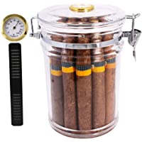 TOIKA Acrylic Cigar Humidor Jar with Hygrometer,Cigar Case Box That Can Holds About 18 Cigars