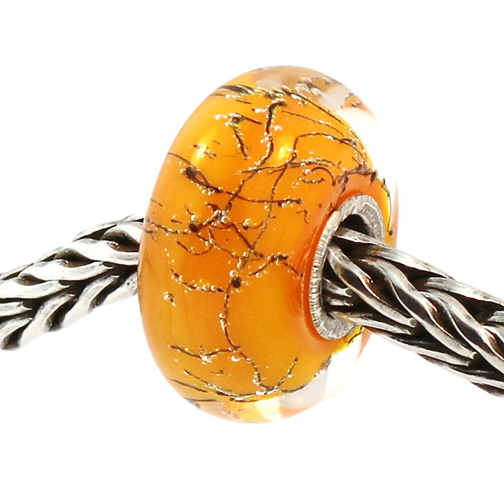 Authentic Trollbeads Glass 61306 Orange Steel