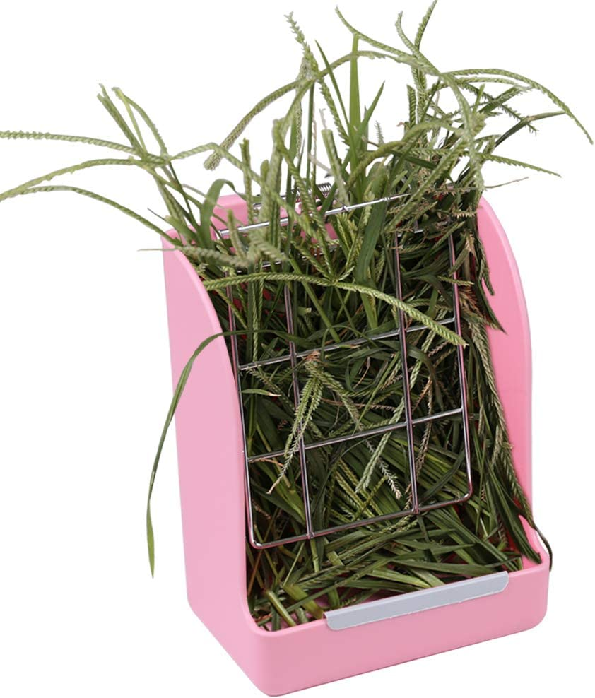 Zdada Rabbit Feeder Bunny Hay Feeder - Pink Hay Food Bin Feeder for for Bunny, Guinea Pig, Rabbit, Chinchilla, Indoor Outdoor Automatic Feeders with The Gift of 1pc Triangle Towel and 1pc Bow Tie
