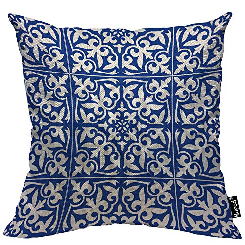 Mugod Moroccan Tile Pillow Cover Ikat Damask Traditional Floral Cobalt Blue and White Decorative Throw Pillow Cases Cotton Linen Indoor Square Cushion Covers 18x18 Inch for Home Sofa Couch ()