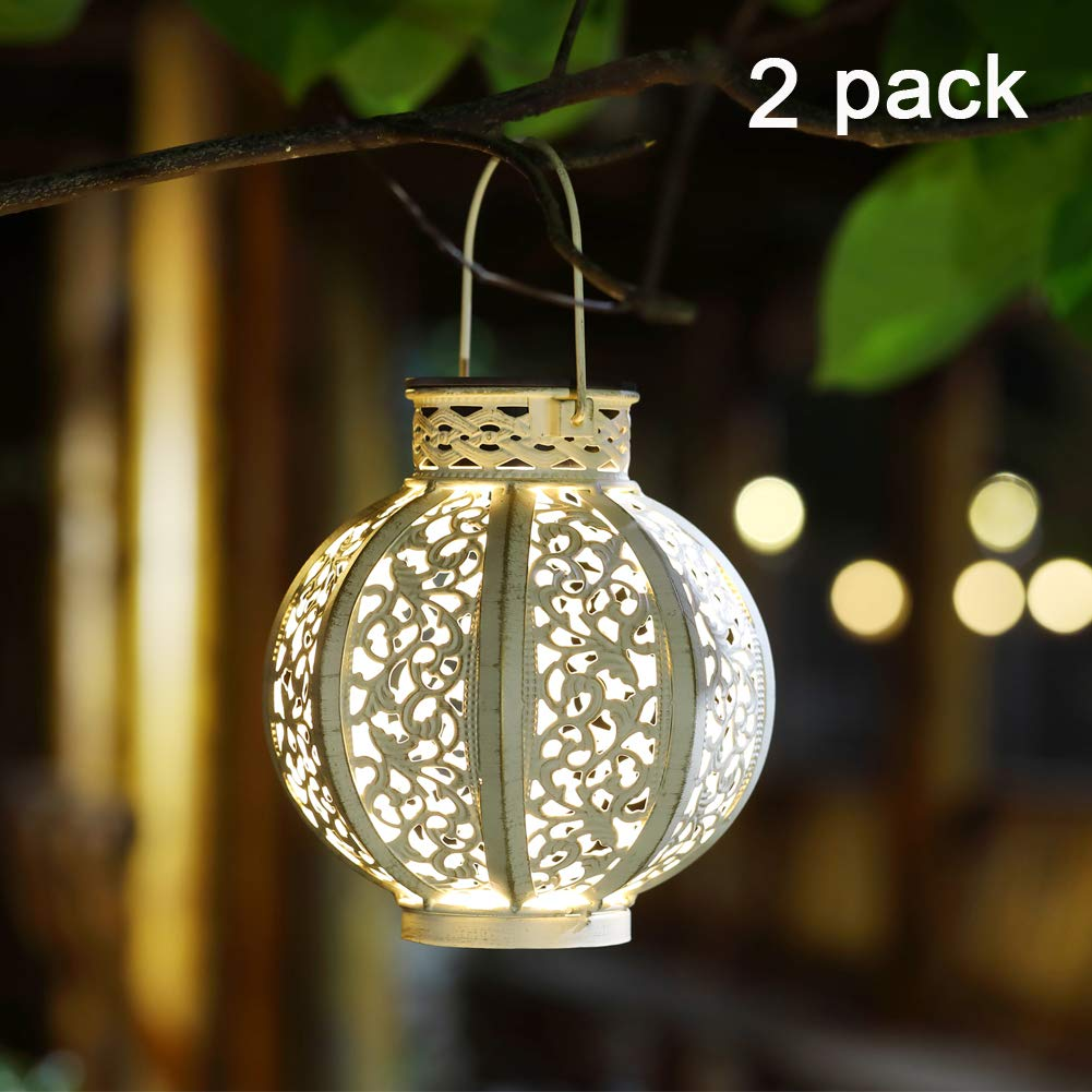 Maggift 2 Pack Hanging Solar Lights Outdoor Solar Lights Retro Hanging Solar Lantern with Handle, 4 Lumens, White by Maggift (Image #1)