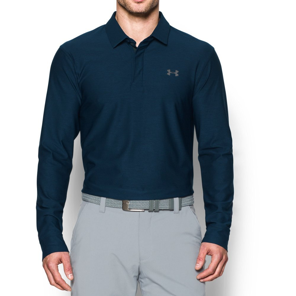Under Armour Men's Playoff Long Sleeve Golf Polo, Academy/Graphite, Small