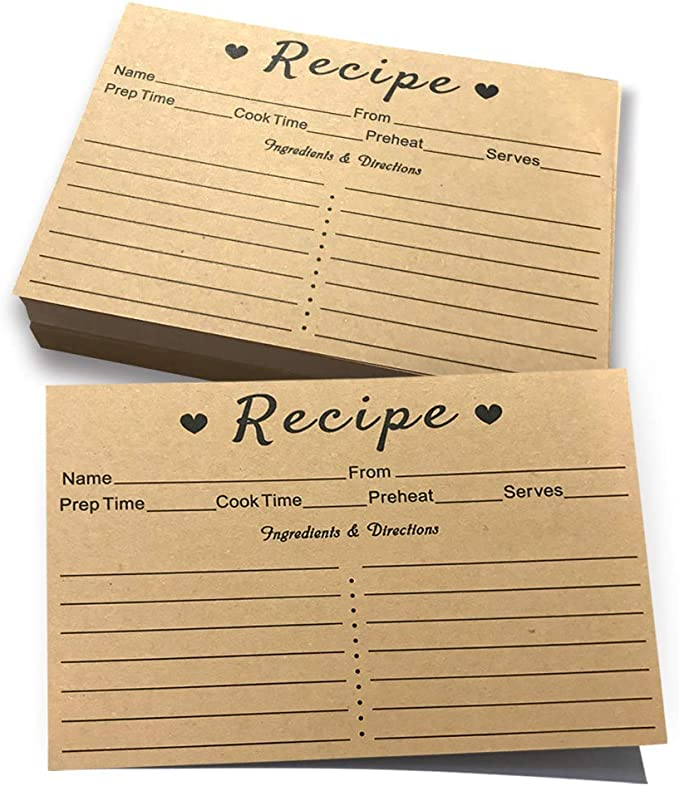 Amazon.com: Recipe Cards - 50 Double Sided Cards, 4x6 inches. Thick Card Stock. Easy To Write, Perfect for Recipe Box & Recipe Binder (Kraft Look): Kitchen & Dining