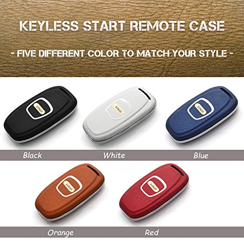 MECHCOS Compatible with fit for 8S0959754M Audi A3 A4 A5 A6 Q3 Q5 Q7 C5 C6 B6 B7 B8 TT 80 S6 A6 C6 3 Buttons Leather Keyless Entry Remote Control Smart Key Fob Cover Jacket Case Protector Shell