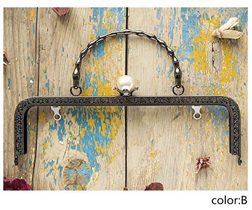 Ownstyle Pearl Clasp Metal Frame Purse Frame Kiss Clasp Lock Squared Design 10 Inch (B, 10 Inch) ()