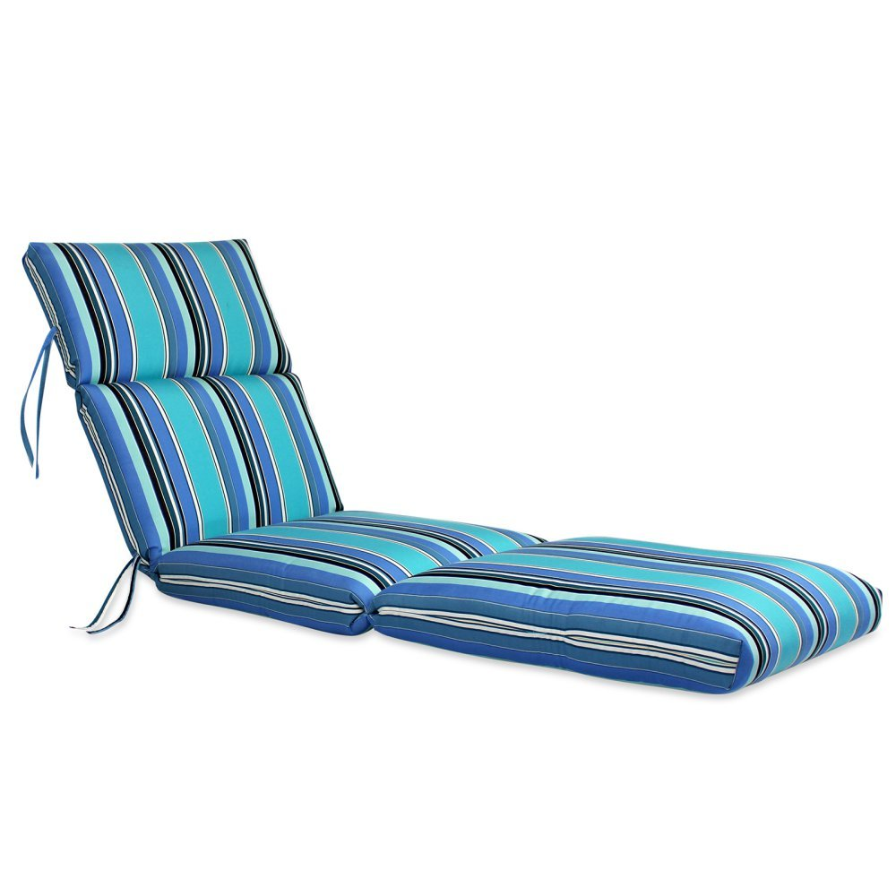 Comfort Classics Inc. 22W x 72L x 5H Hinge at 26 Sunbrella Outdoor CHANNELED CHAISE CUSHION in Dolce Oasis Made in USA.