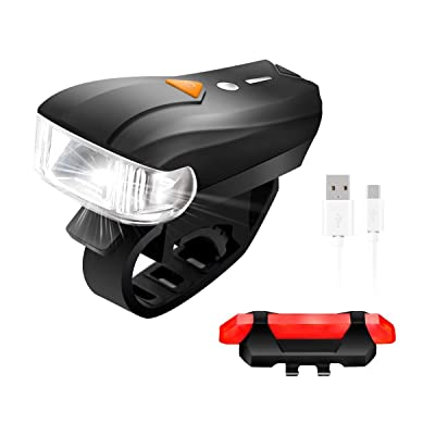Sets d'éclairage Avant et Arrière pour Vélo LED,SGODDE Phare de vélo 400Lumens+150Lumens(Arrière) 5 Modes Rechargeable avec Câble USB(Inclus) Intélligent de Détection Imp