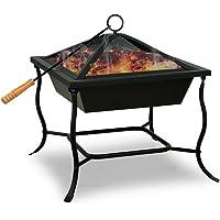 Deuba Brasero de jardin en Acier carré 45x45cm BBQ cheminée barbecue chauffage extérieur
