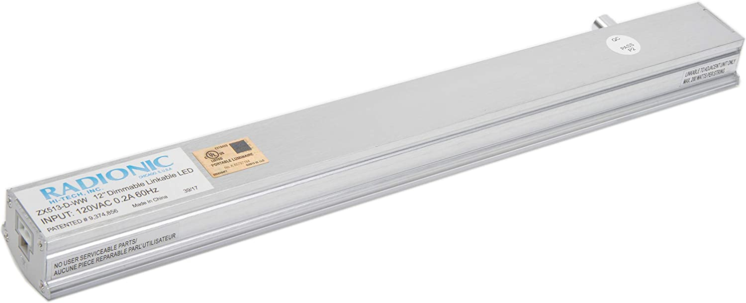 UL approved Under Cabinet Light Fixture Cool White ideal for Kitchen Radionic Hi Tech ZX513-CL-CW 90+ CRI 4500K On//Off switch Utility /& Workareas 12 inch LED Covelight Linkable