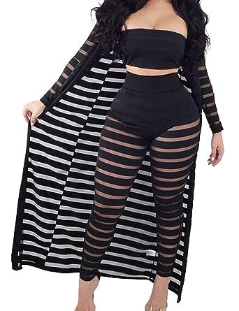 96f220a2ab XXXITICAT Women's Sexy Lace Transparent See Through Wide Leg Pants Tube Top  Long Coat Sets Suits