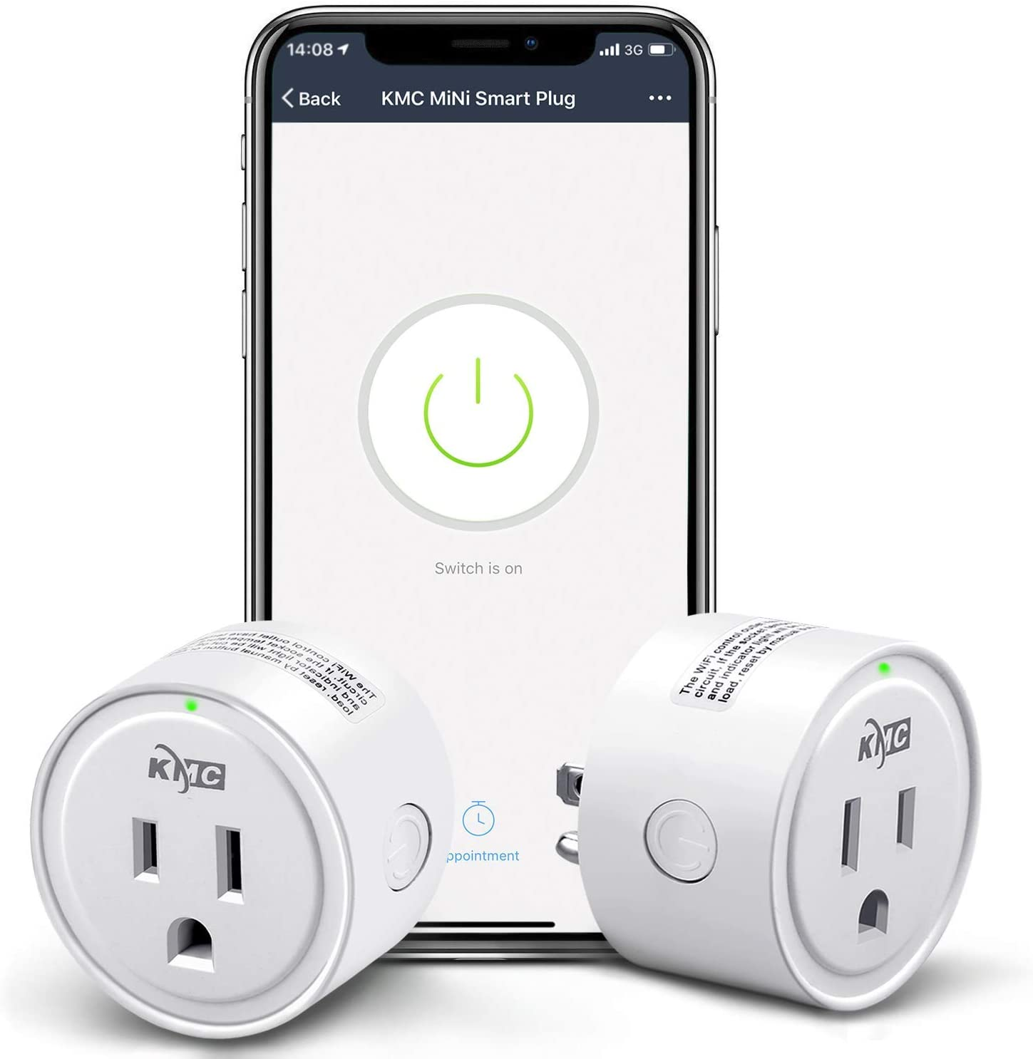 Smart Plug,KMC Smart Wifi Outlet Works with Alexa and Google Home, 2.4G Wifi Only, No Hub Required, ETL and FCC Listed 2 Pack