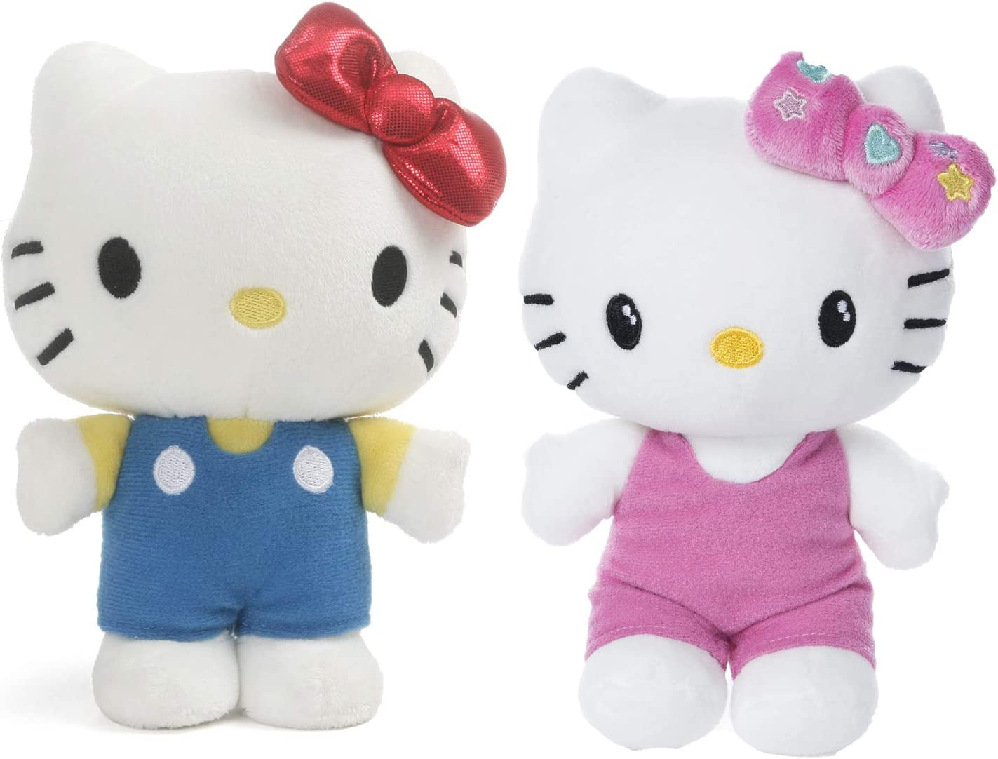 "GUND Hello Kitty Small 6"" Plush 2 Pack: Classic Hello Kitty, and Pink Outfit Hello Kitty"