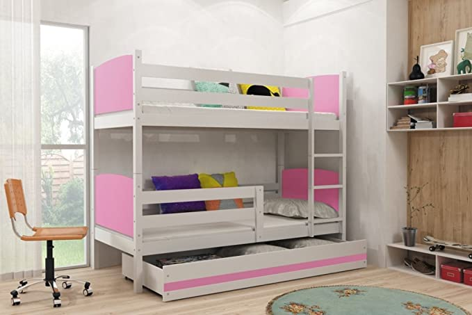 Interbeds Litera Infantil Doble,Tami, 190X80, Color Blanco, los Paneles (colchones,somieres y cajón Gratis) (Gris): Amazon.es: Hogar