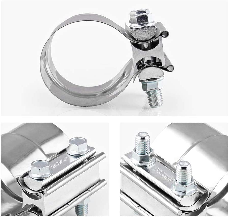 Xuniu 1Pieces 2.5Inch Stainless Steel Butt Joint Band Exhaust Clamp Sleeve Coupler