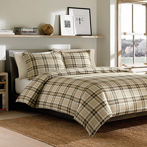 Eddie Bauer Edgewood Plaid Duvet Cover Set, Twin, Khaki (Plaid Comforter Brown)