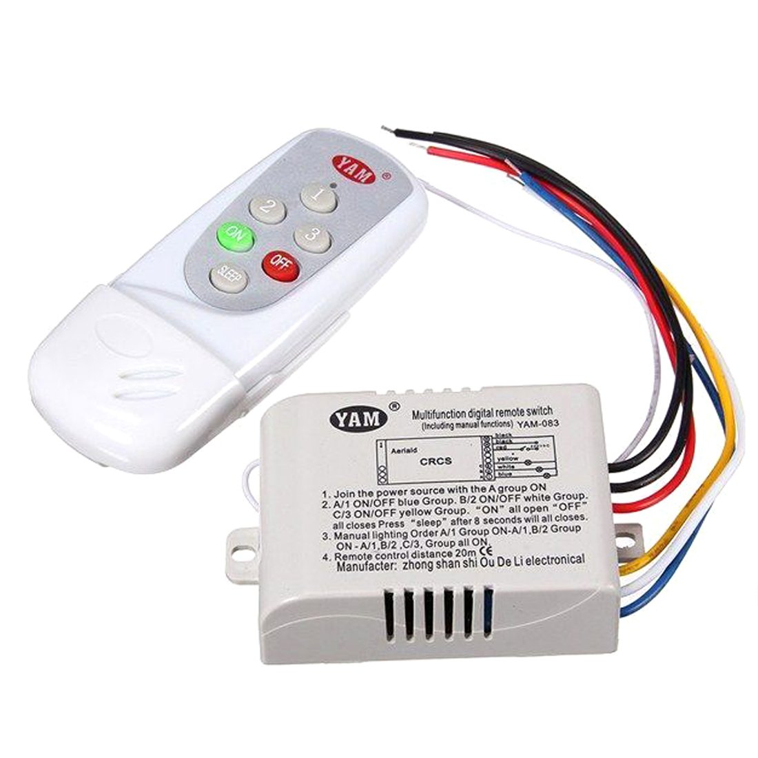 Lamp Remote Control Switch Yam Ac 220v Wireless Light Digital Electrical Wiring Lab Manual With White 083 3 Way