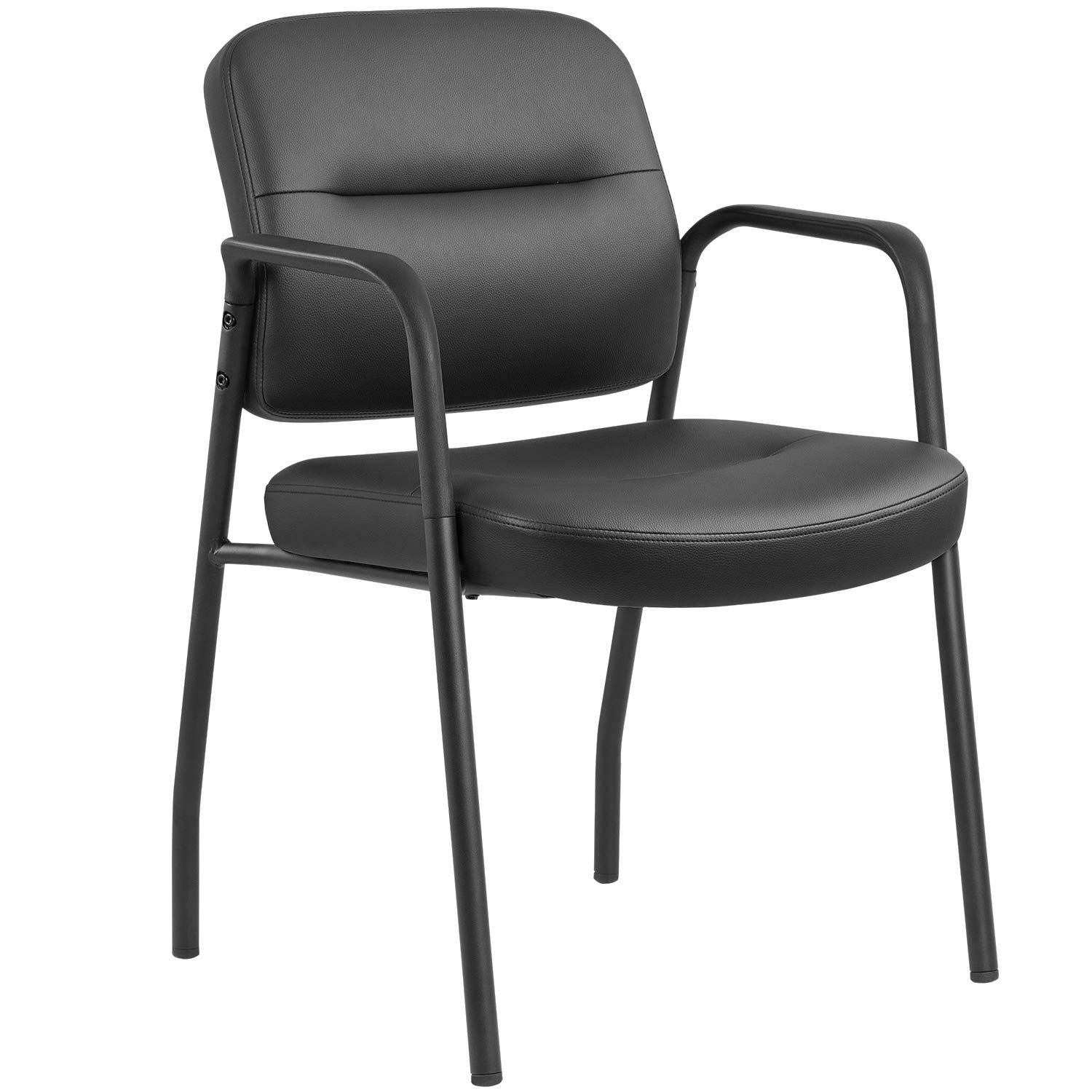 JUMMICO Office Guest Chair Leather Executive Side Chair Reception Chair with Frame Finish Ergonomic Lumbar Support (Black) by JUMMICO