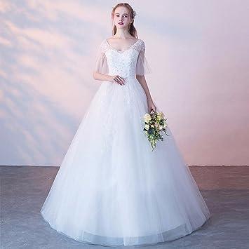 SLR Vestido de Novia Novia se casó Hombro de Manga Larga de Encaje de Gran tamaño