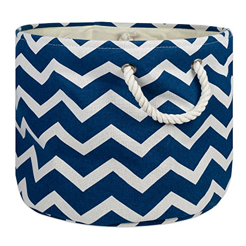 (DII Collapsible Polyester Storage Basket or Bin with Durable Cotton Handles, Home Organizer Solution for Office, Bedroom, Closet, Toys, Laundry (Large Round - 15x16), Navy Chevron)