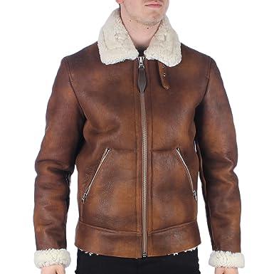 063f218f4 Mens Schott LCB100 Bombardier Rust Brique Sheepskin Leather Jacket ...
