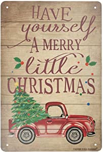 Angeloken New Metal Tin Sign Retro Vintage Have Yourself A Merry Little Christmas Red Truck Aluminum Sign for Home Coffee Wall Decor 8x12 Inch