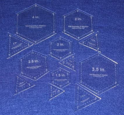 12 Piece Template Set Equilateral Triangles /& Hexagon 1//8