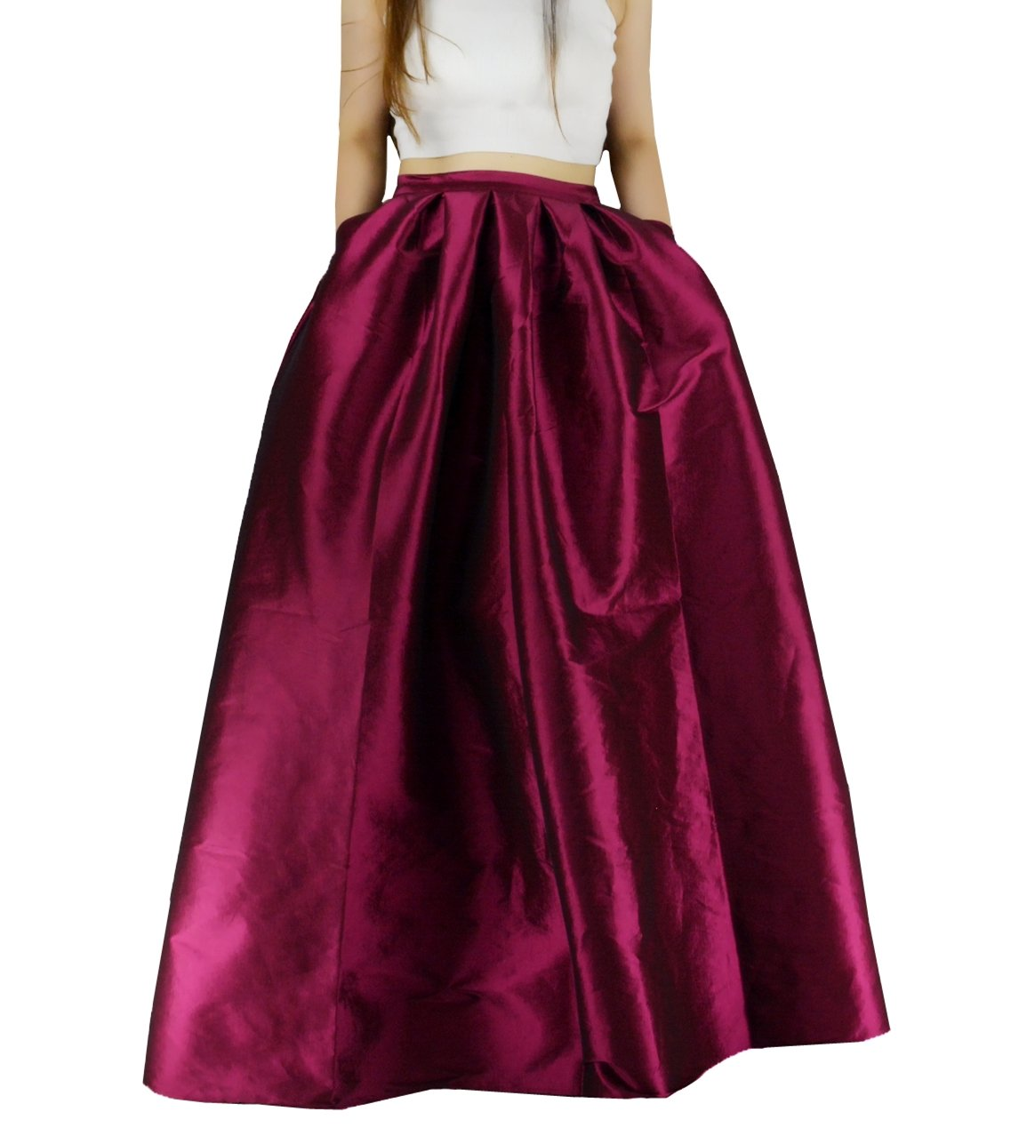 YSJ Women's High Waist A-Line Pleated Maxi Skirts Party Swing Skirt With Pockets (10, Burgundy)