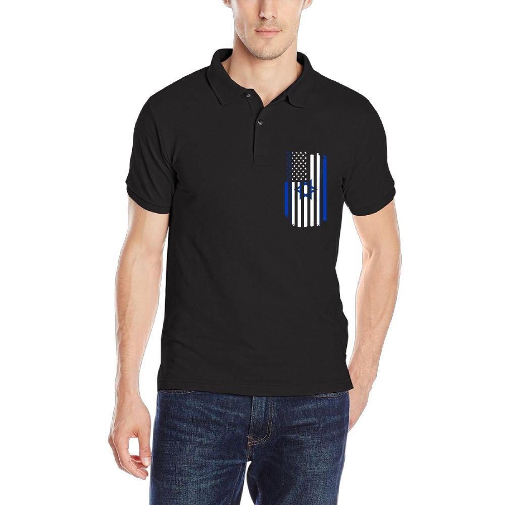 DAD97KHG American Israeli Flag Mens Short Sleeves Polo T Shirt
