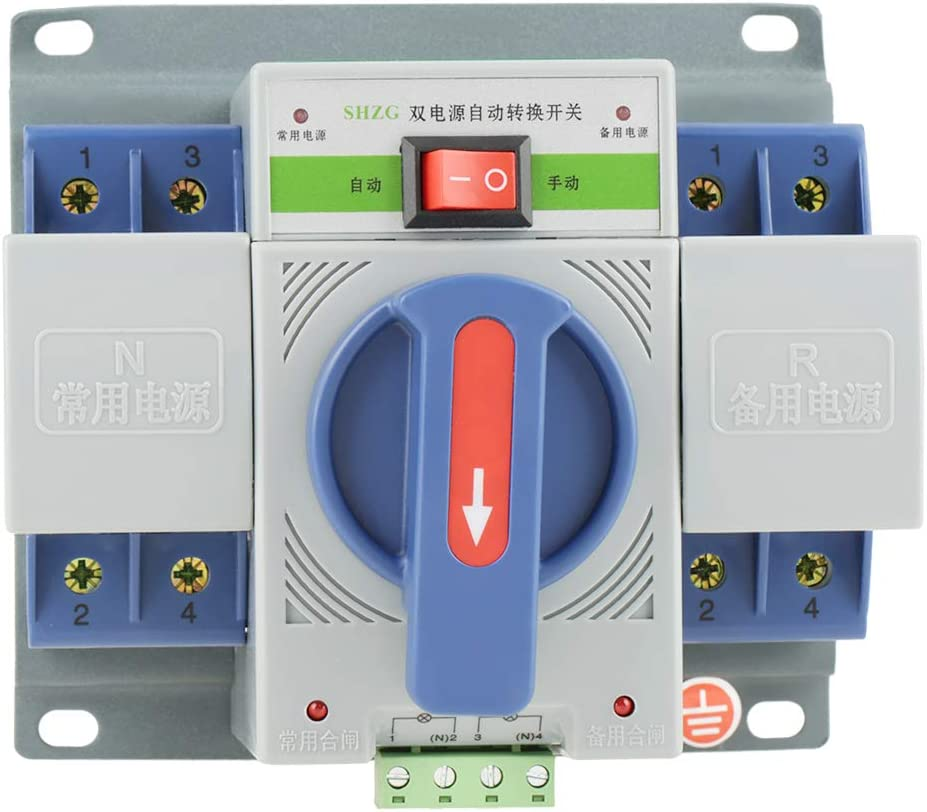 220V 63A Transfer Switch Mini Dual Electronic Power Automatic Circuit Breaker (2P)