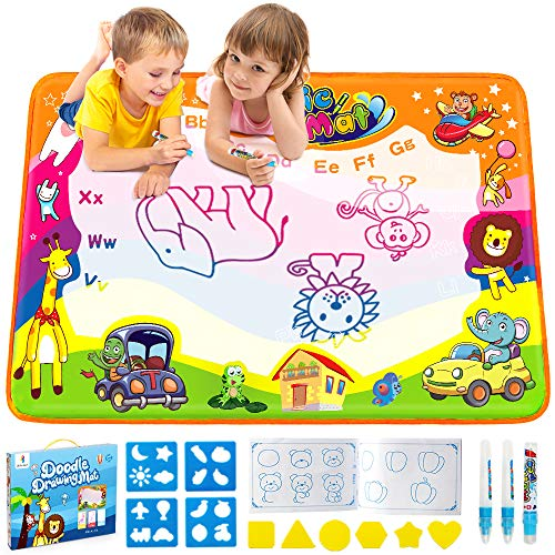 "Betheaces Water Drawing Mat Aqua Magic Doodle Kids Toys Mess Free Coloring Painting Educational Writing Mats Xmas Gift for Toddlers Boys Girls Age of 3,4,5,6,7 Year Old 34.5"" X 22.5"" in 6 Colors"