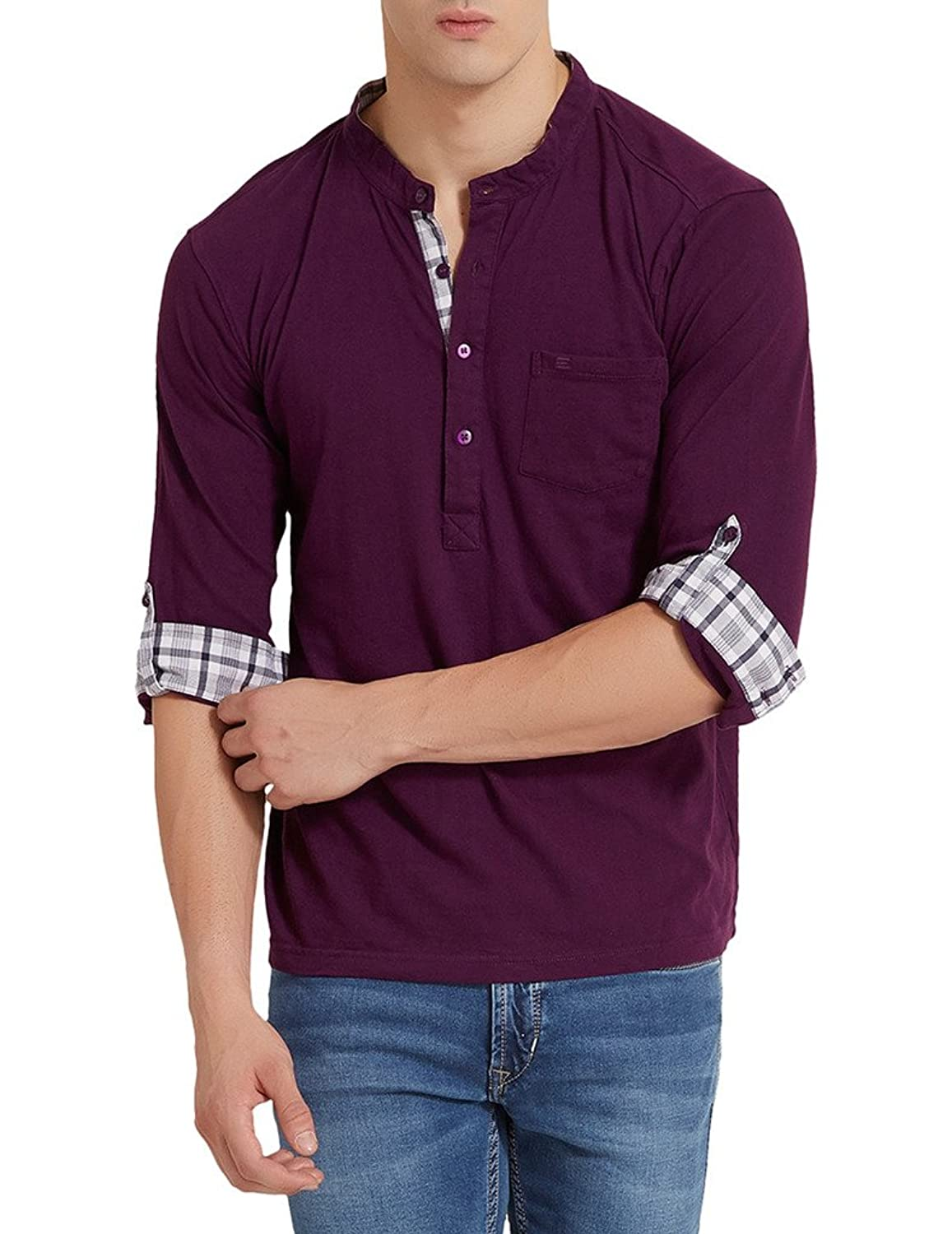 Elaborado Men's Henley Neck Tshirt - Imperial Purple