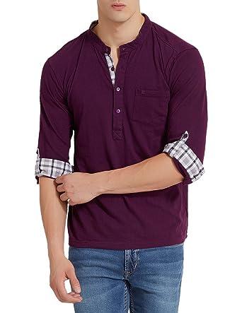 various colors new authentic new season Elaborado Men's Henley Neck Tshirt - Imperial Purple