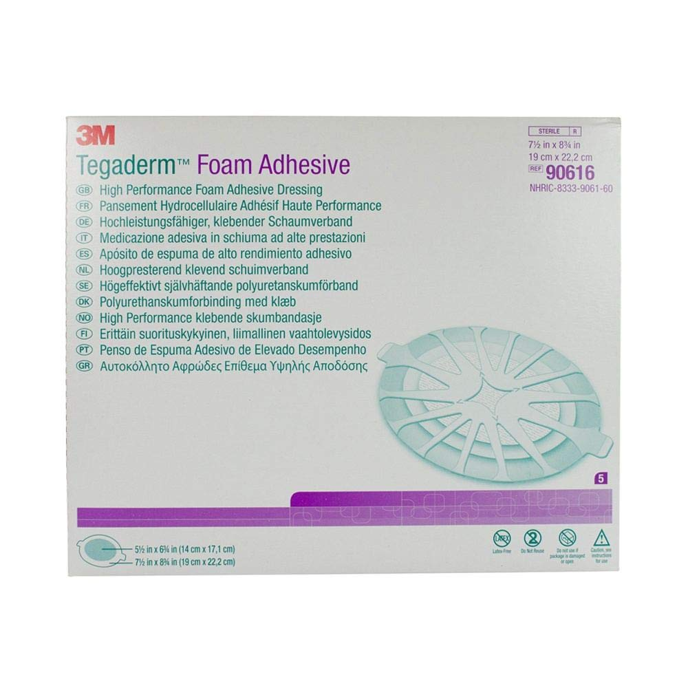3M 90616 Tegaderm High Performance Foam Adhesive Dressing, Large Oval, 5 Pads Per Pack (Pack of 3)