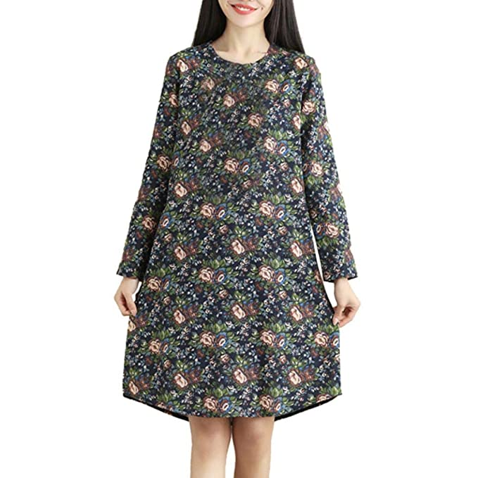 POLP Vestidos Largo Mujer ◉ω◉ Vestidos Sueltos Mujer Verano,Vestido Lino Mujer,