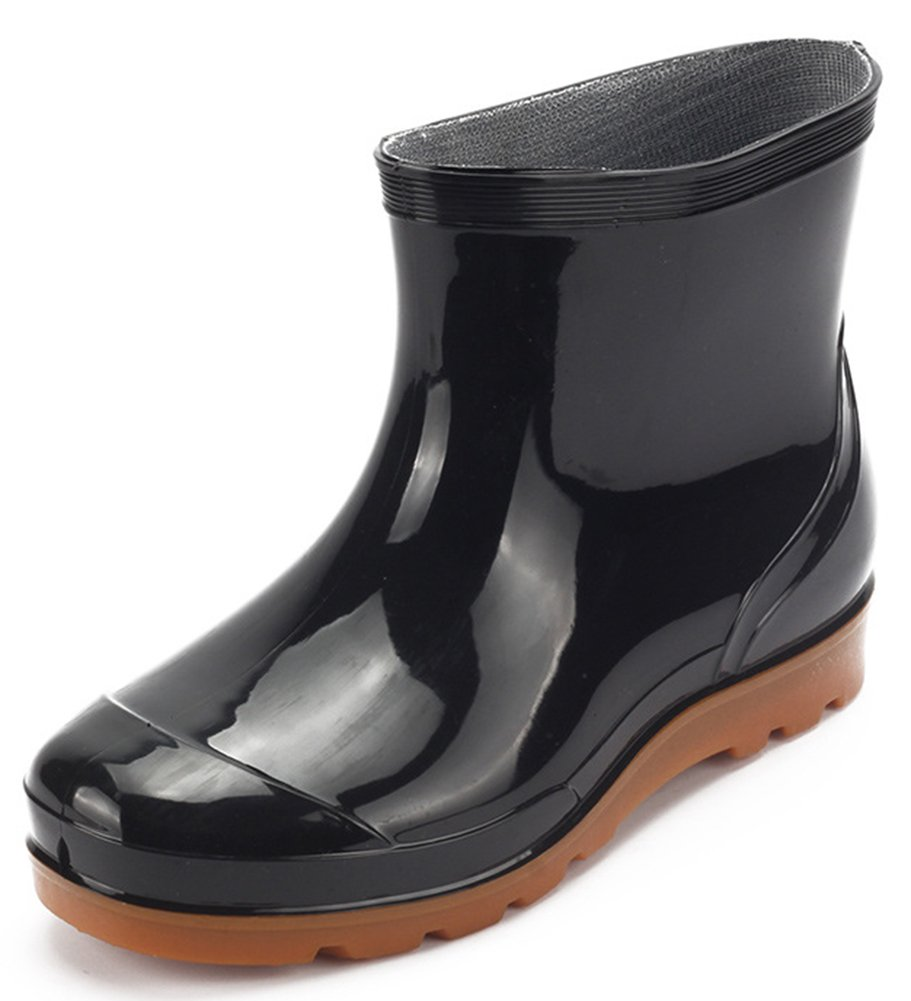 IDIFU Men's Breathable Antiskid Short Wellies Rain Boots Ankle High Rubber Shoes Black 5.5 D(M) US