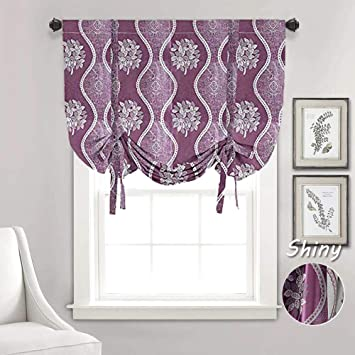 WUBODTI Valance for Kitchen Bedroom Bathroom Windows Room Darkening Tie Up  Shades Blackout Thermal Insulated Balloon Curtain Panel,32x55 Inch,Purple