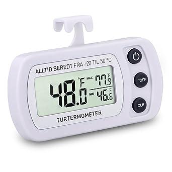 marsboy Termómetro Digital para frigorífico Congelador Nevera.Impermeable PIX3 Color Blanco