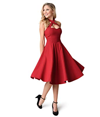 Unique Vintage 1950s Style Red Criss Cross Halter Flare Rita Dress