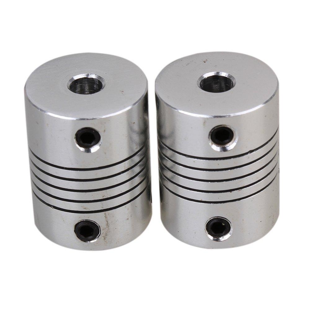 CNBTR 2 pcs 5 x 5mm Aluminium CNC Flexible Arbre D19L25 Moteur Pas /À Pas Accouplement