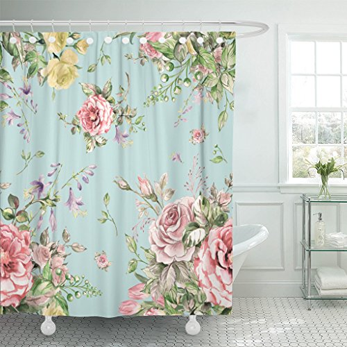 Emvency Fabric Shower Curtain Curtains with Hooks Colorful Victorian Watercolor Luxury Bouquet 5 Pink Floral Flower Rose Abstract Beautiful Beauty Blossom 72