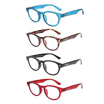 ab39f7ecff40 Round Reading Glasses 4 Pack Fashion Lightweight Readers for Women Man  Spring Hinge Black Blue Red
